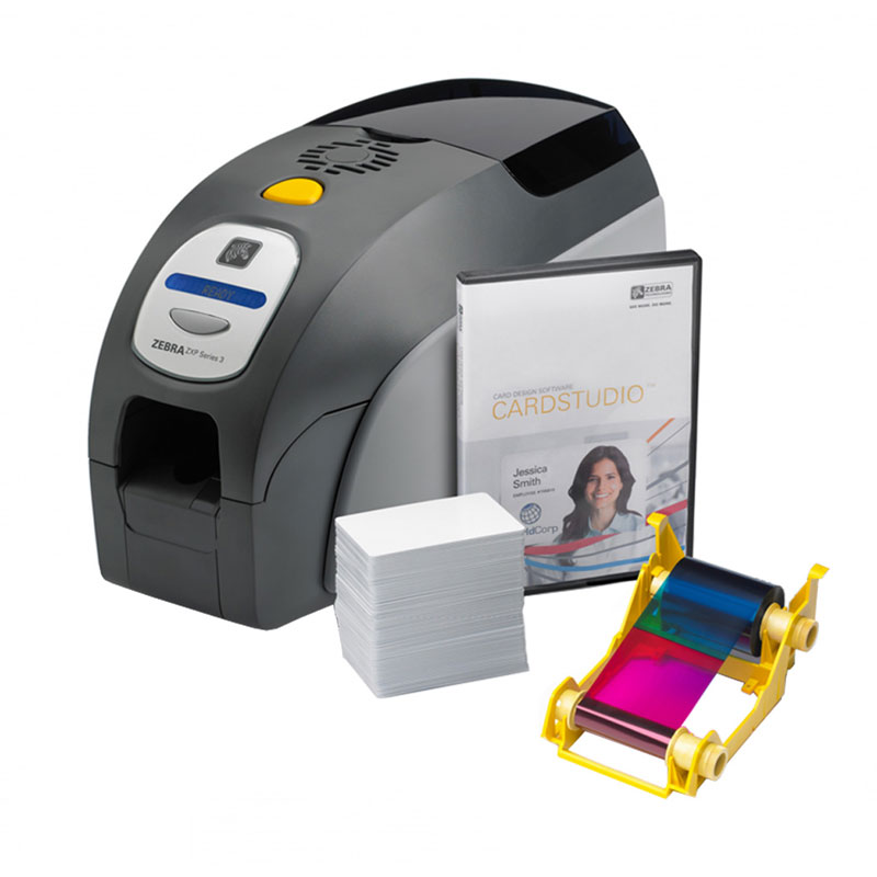 ZEBRA ZXP3 CARD PRINTER W/ RIBBON CARDS SOFTWARE
